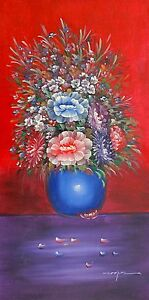 COLORFUL-BOUQUET-Signed-Original-Art-Oil-Painting-on-Canvas