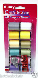 12PC LIGHT COLORED THREAD 3 NEEDLES AND THREADING DEVICE 25 YARDS EACH SPOOL