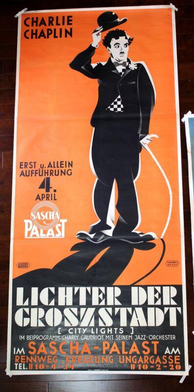 "City Lights - Charlie Chaplin (1931) 109"" x 49"" Austrian Movie Poster LB"