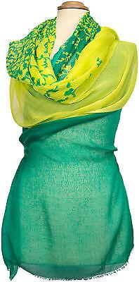 Floral Bedruckte Schal (Schal 100% Modal leicht, bedruckt Sommer  stole summer Grün Gelb Green Floral)