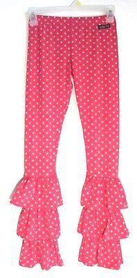 Polka Dot Ruffle Legging - Girl's MATILDA JANE pink polka dot tiered ruffle legging pants size 10