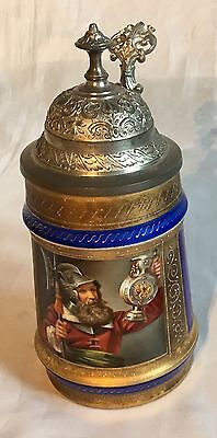 Porzellanbierkrug mit Malerei Zinndeckel