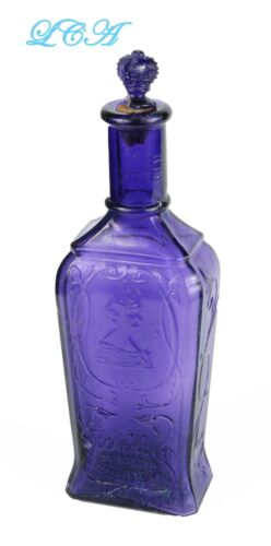 Exquisitely PURPLE antique WILLOW of BOSTON picture PERFUME bottle w/GLASS TOP