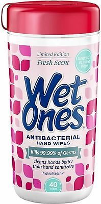 WET ONES Antibacterial Hand Wipes, Fresh Scent 40 ea (Pack of (Antibacterial Wipes)