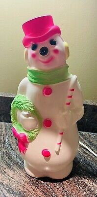 """Vintage 1968 empire Christmas blow mold light up Snowman 13"""" tabletop"""