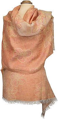 Leinenschal Orange Gelb Floralmuster summer linen scarf yellow Foulard Écharpe Orange Floral Muster