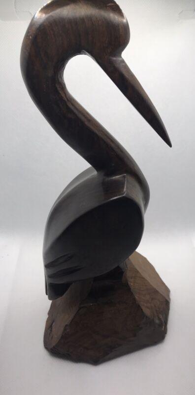 "Hand Carved 9"" Tall Wood Crane Heron Egret Bird Art Coastal Beach Decor"
