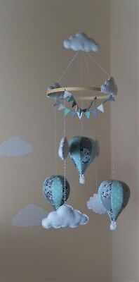 Handmade hot air balloon baby mobile with bunting mint floral butterfly and grey ()
