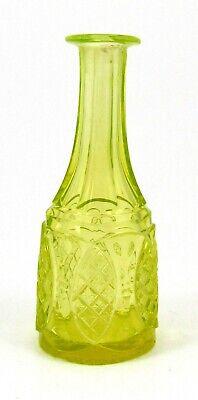 RARE Vaseline Uranium Bohemian Cut Glass Biedermeier Perfume Bottle