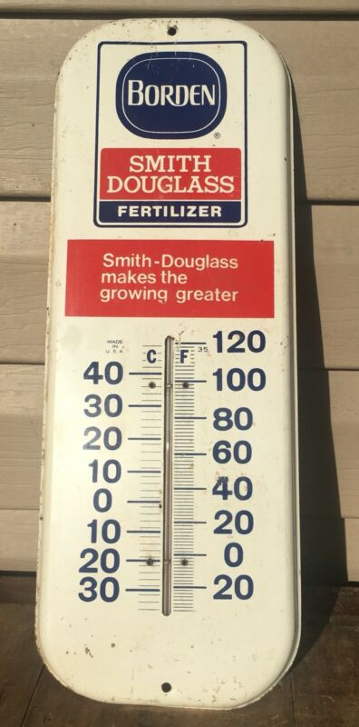 "Vintage Borden Smith Douglass Fertilizer Thermometer 16"" Made In USA"