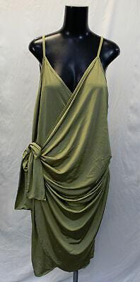 Boohoo Women's Plus Slinky Strappy Knot Wrap Midi Dress TM8 Khaki US:18 UK:22