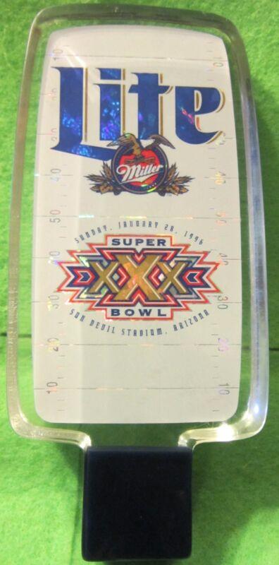 Miller Lite Acrylic Beer Pull /Handle Super Bowl XXX Cowboys Steelers 1-28-1996