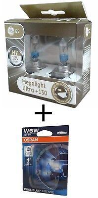 H7 GE MegaLight Ultra +130% Licht 2st. 58520XNU + W5W Osram Cool Blue Intense (Boot Blauen Led-leuchten)