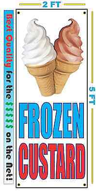 Frozen Custard W Cone Vertical Banner Sign New Larger Size Best Quality 4 The