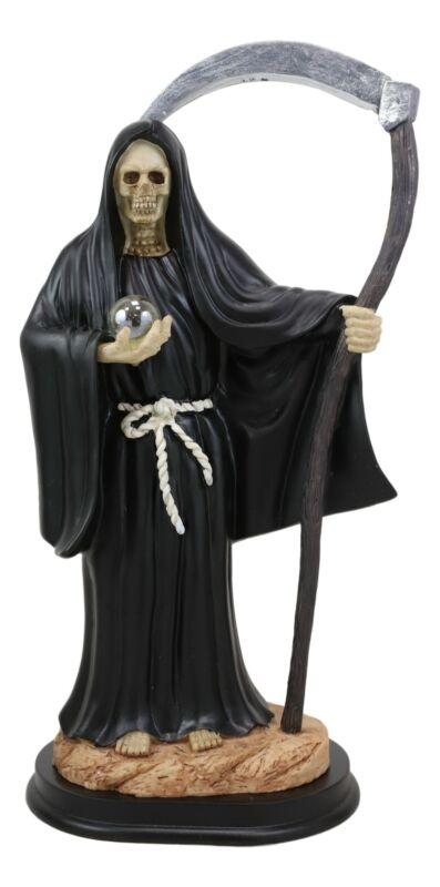 "12.75""H Holy Death Santa Muerte Holding Scythe in Black Tunic Robe Statue Decor"