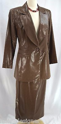 EVA POLINI Couture Maxi pencil Skirt Suit Jacket blazer top long faux reptile 10