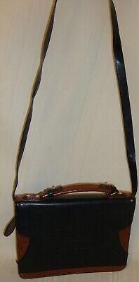 BelleRose Crossbody Shoulder Satchel Black & Brown Leather Handbag