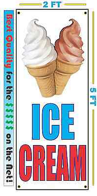 ICE CREAM w CONE VERTICAL Banner Sign NEW LARGER Size Best Quality for the