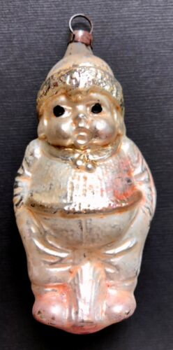 Antique Vintage Chubby Boy On Stump German Glass Figural Christmas Ornament