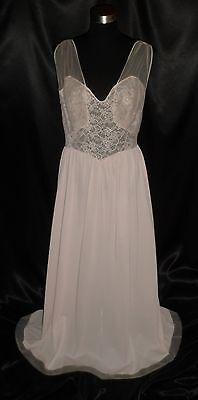 ~ Vintage 50's VANITY FAIR Elaborate Chiffon & Lace Pink Nylon Nightgown 38 ~