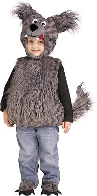 Toddler Cuddly Wolf Plush Grey Animal Costume 3T-4T - Wolf Toddler Costume