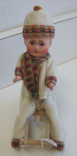 Antique Christmas German paper mache child sledder candy container Heubach type