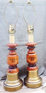 Pair of vintage wooden table lamps