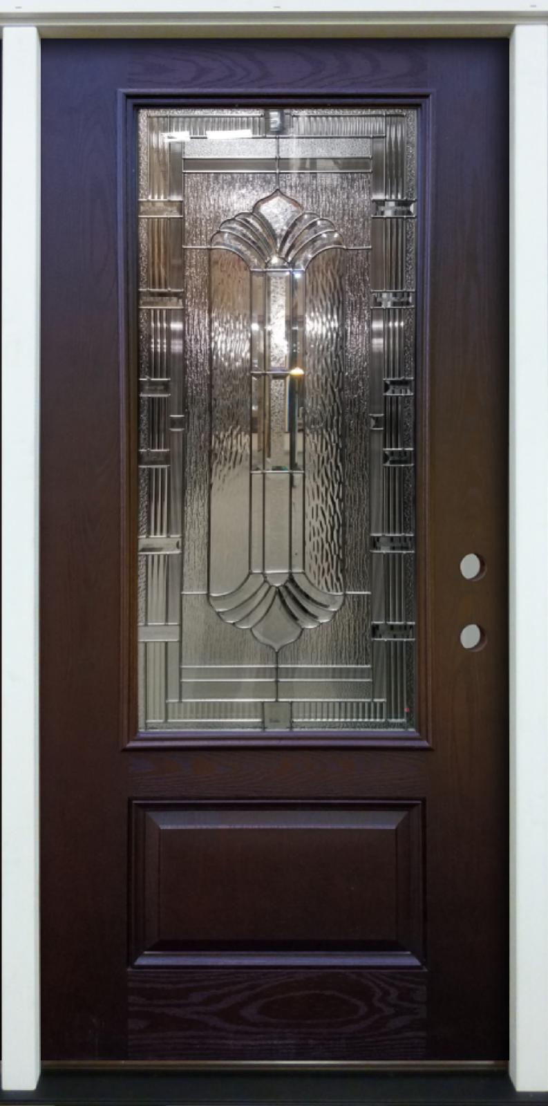 """Prehung Fiberglass Entry Door 36"""" x 80"""" Blade 3/4 Espresso W"""