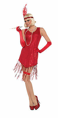 Adult Sexy Roaring 20's Sequin Red Gatsby Flapper Jazz Dress Costume](Jazz Flapper Costume)