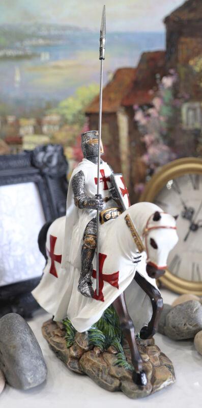 Ebros Crusader English Knight On Heavy Cavalry Horse Statue Phalanx Spear Horse