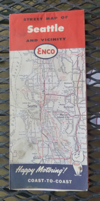 1964 Seattle metro street  map ENCO Humble oil gas Washington Kirkland schools