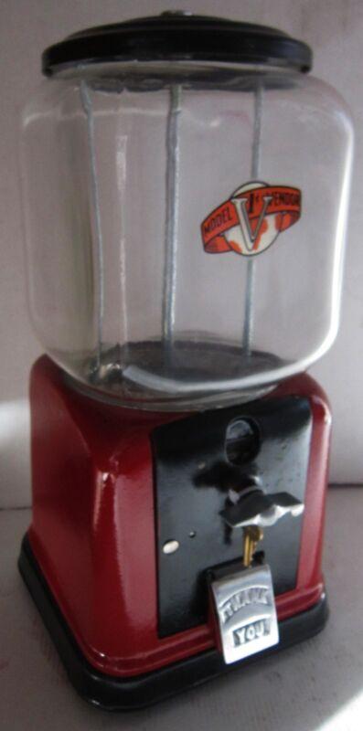 Restored Cast Iron Vendor 1c Peanut / Candy Dispenser circa 1940