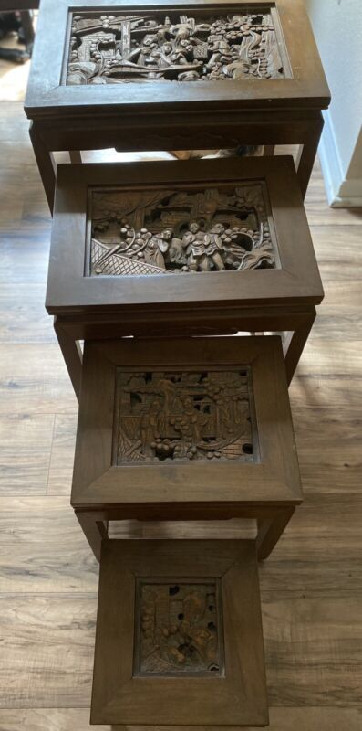 Antique Hand Carved Nesting Tables Asian Scenes Set Of 4