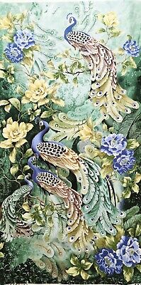 Peacock fabric panel, quilting, oriental Japanese Chinese asian, bird feather