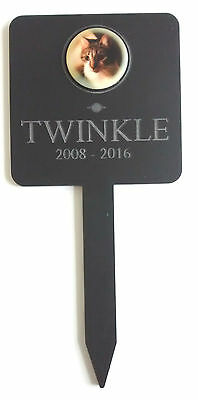 Engraved Acrylic PET Memorial Plaque & Stake PHOTO Grave Marker PERSONALISED New