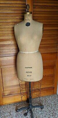 Vintage J.r. Bauman Womans Dress Form Wire Cage Cast Iron Base W Wheels