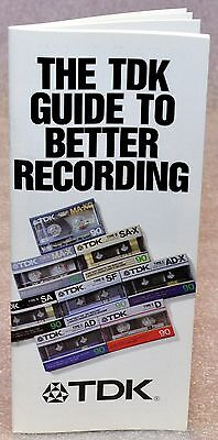 TDK GUIDE TO RECORDING AUDIO CASSETTE TAPE REEL 2 REEL BROCHURE AUDIOPHILE INFO