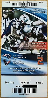September 22 2016 New England Patriots vs. Houston Texans Ticket