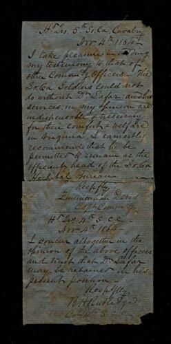 Orders of Zimmerman Davis & Benj Huger Rutledge 4th & 5th SC Cavalry 11/4/1864