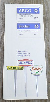 1972 ATLANTIC WHITE FLASH HI-ARCO Road Map GAS OIL SEATTLE B14