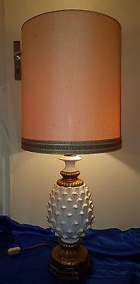 Tischlampe Bodenlampe Ananas Lampe Keramik Holz vergoldet Pineapple Lamp