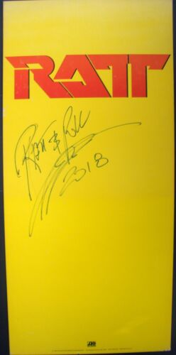 RATT OUT OF CELLAR SIGNED PEARCY 1984 VINTAGE MUSIC RECORD STORE PROMO DISPLAY