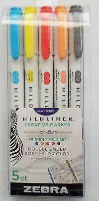 5 Zebra Mildliner Creative Markers Assorted Colors