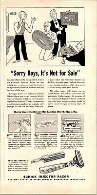 Schick Injector Razor Sorry Boys Not For Sale Shaving 1942 Vintage Print Ad