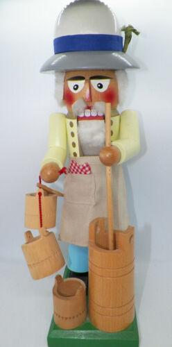 "15"" Steinbach Germany Wood Nutcracker - Dairy Farmer w/Butter Churn, Milk Bucket"