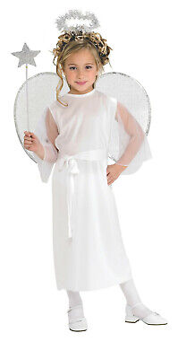 Girls Angel Costume White Flowing Gown Christmas Biblical Child Size Small 4-6 - Childs Angel Costume