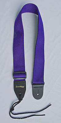 GUITAR STRAP PURPLE NYLON LEATHER ENDS FOR ACOUSTIC & ELECTRIC MADE IN U.S.A.
