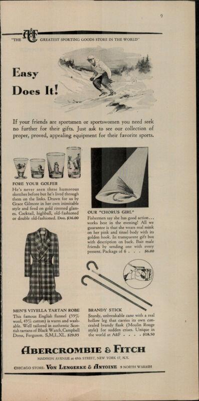 1955 Abercrombie & Fitch Mens Viyella Tartan Robe Skier Vintage Print Ad 2407
