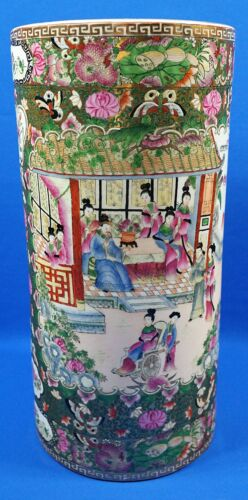 """Vintage Heavy Chinese Rose Medallion Umbrella Stand/Holder 20 1/2"""" Tall"""