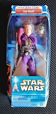 """STAR WARS ATTACK OF THE CLONES ZAM WESELL 12"""" ACTION FIGURE VINTAGE 2002"""